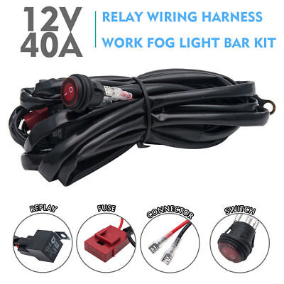 LED Work Light Bar Wiring HID Driving Loom Harness Switch Relay Kit 12V 40A 3M