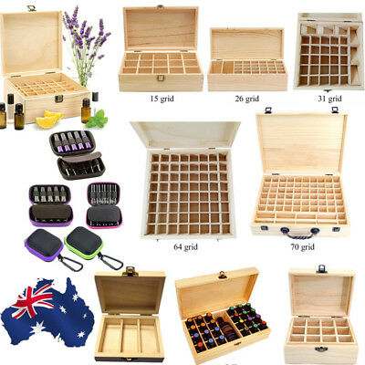 AU 3~70 Slot Aromatherapy Essential Oil Storage Box Wooden Case Container Holder