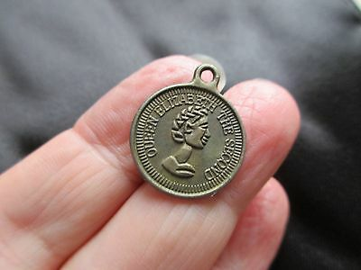 Antique Vintage Unusual Bronze Metal Roman Coin Token Queen Elizabeth Fob Charm