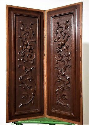 Hand Carved Wood Panel Pair Antique Bow Fruit Architectural Salvage Carving