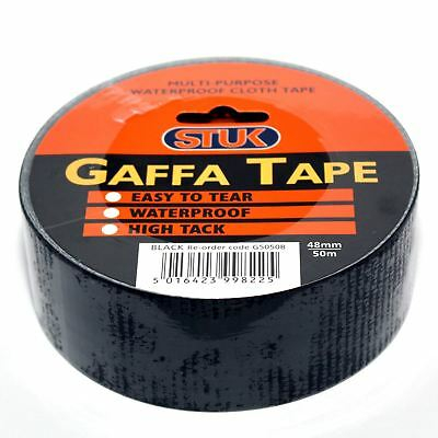 "Stuk Duck Duct Cloth Waterproof Gaffer Gaffa Tape Black 2"" 48mm X 50m"