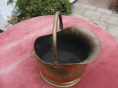 Antique Brass Coal Helmet/skuttle/hod/bucket/garden Planter/hearth Brass/coalhod