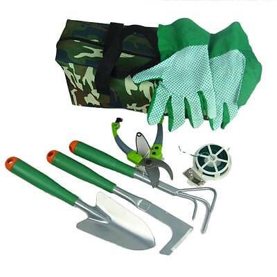7 PCS Garden Tool Kits Set Folding Stool Bag Home Gardening Trowel Weeder  Tools