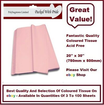 "PALE PINK TOP QUALITY COLOURED TISSUE PAPER ACID FREE  750mm x 500mm (20"" x 30"")"