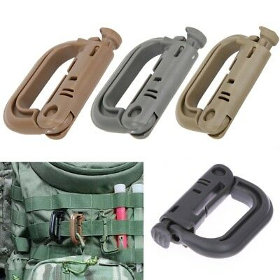 Outdoor D-shaped Molle Carabiner Locking Ring Mount D-Ring Clip Snap Hook
