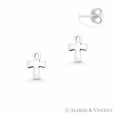 Egyptian Ankh Cross Key-of-Life Charm Oxidixed 925 Sterling Silver Stud Earrings