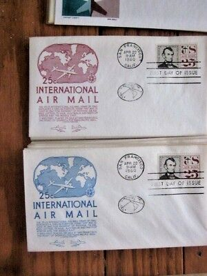 Abe Lincoln Airmail 1960 Set (2) Red & Blue Anderson Cachet Fdcs Unaddressed
