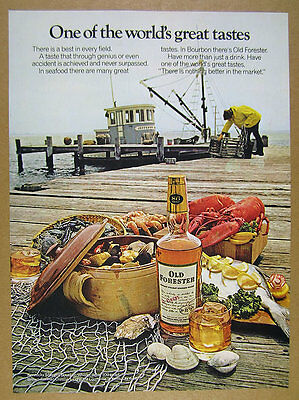 1973 Old Forester Bourbon lobster fisherman boat traps photo vintage print Ad