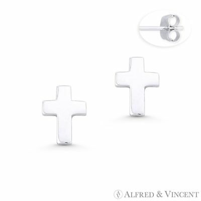 Latin Cross Christian Charm 10mmx7mm Stud Earrings in Solid .925 Sterling Silver