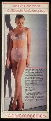 1980 sexy woman photo Givenchy lingerie pink bra panties Bloomingdale's NYC ad