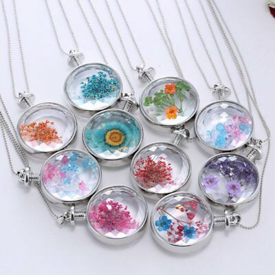 Women Glass Resin Real Dried Flower Daisy Pendant Necklace Chain Jewelry Gift