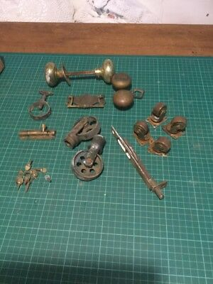Vintage Antique Mixed Lot Of Salvaged Brass Hardware Handles ,castors Free Uk P&