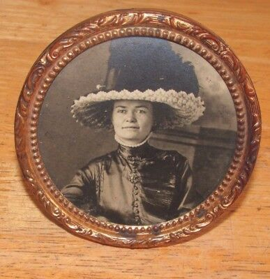 Antique Victorian Standing Round Brass Picture Frame,Woman in Hat Photo