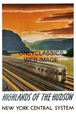 1947 New York Central Railroad Hudson River Travel Poster Train Art Deco Design