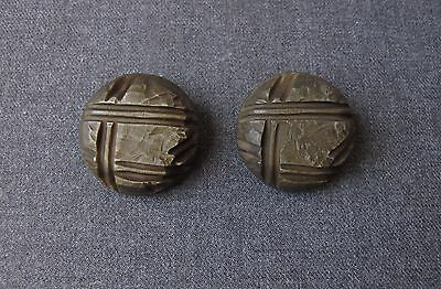 2 Antique 1930's Art Deco Carved Galalith Metal Shank Large Buttons