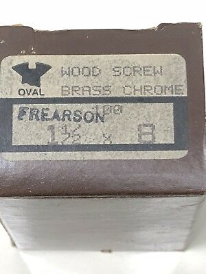 "100 qty Chrome Plated Brass Wood Screws~#8 x 1-1/2"" Frearson OH~Chris Craft Boat"