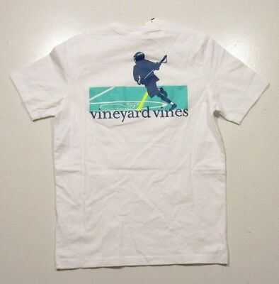 Vineyard Vines Boys White Cap Lacrosse Game Graphic Short Sleeve T-Shirt