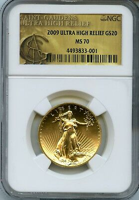 2009 NGC MS70 Ultra High Relief.900 Gold $20 St. Gaudens Double Eagle Coin RN424