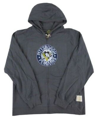 Pittsburgh Penguins NHL Reebok Retro Logo Gray Full-Zip Sweatshirt