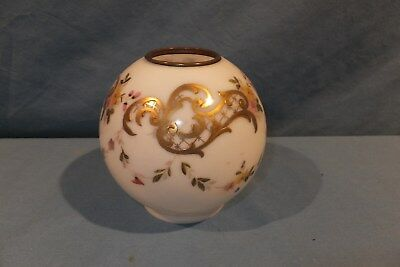1870 - 1890 Hand Painted Gold Relief Miniature Ball Oil lamp shade