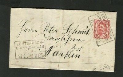 CS22 LUXEMBOURG beautiful cancelled cover Echternach Grevemacher Ettelbruck 1908