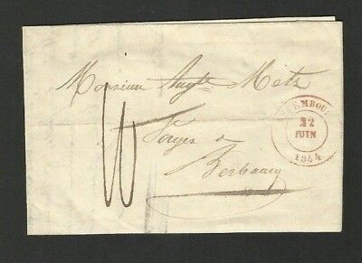 CS26 LUXEMBOURG beautiful prephilatelie 22.6.1844 Maitre de forge Berbourg red £