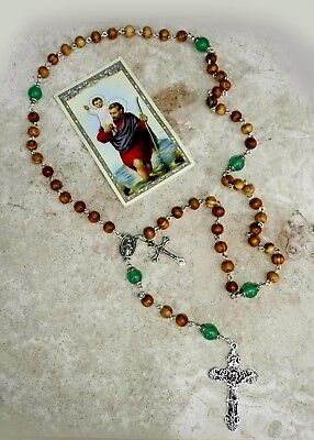 Jerusalem Holy Land Olive Wood Green Jade Antique Silver Miraculous Rosary