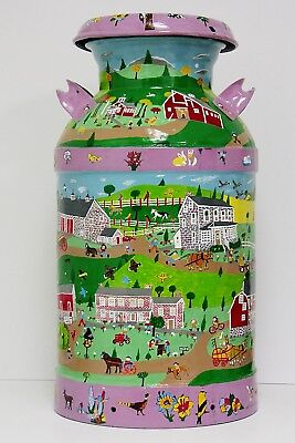 Hand Painted Milk Can - Amish - PA - 10 Gal - Signed - VILLAGE - FREE SHIP USA