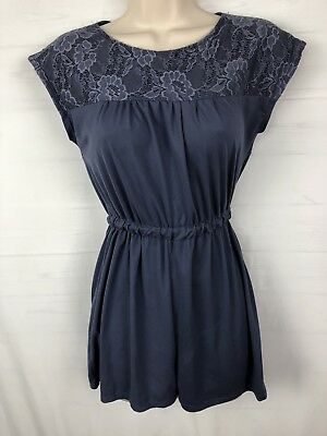 Poof Girl's romper Size XL gray/blue All-In-One Jumpsuit w/lace top