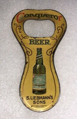 Rare Liebmann Prepro Painted Tin Litho Beer Bottle Opener Conqueror New York