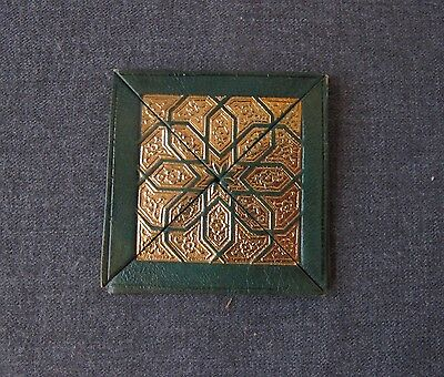 Vintage Gold Damascene Embossed Genuine Green Leather Coin Purse Unused Spain  D
