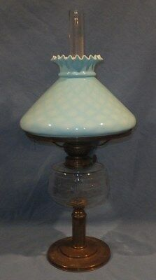 Scarce 1880 - 1910 Complete Cut Glass Blue Quilt Table Oil Lamp