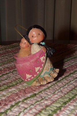 Enesco Friends of the Feather Native American Mother Baby Papoose Figurine Mini