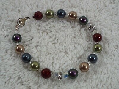 Colorful Glass & Crystal Bead Snap Clasp Bracelet (C20)