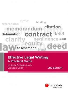 NEW Effective Legal Writing By N Corbett-Jarvis Paperback Free Shipping