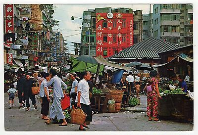 HONG KONG CHINA PC Postcard CANCEL Stamp POSTMARK Queen MARKET Kowloon 1967