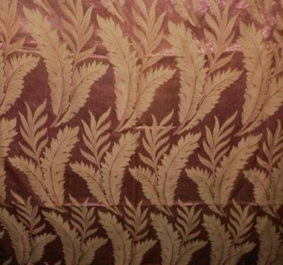 """Lovely Vtg Art Deco Rose Brocade Drapery Fabric with large Beige Fern Leave 34""""W"""