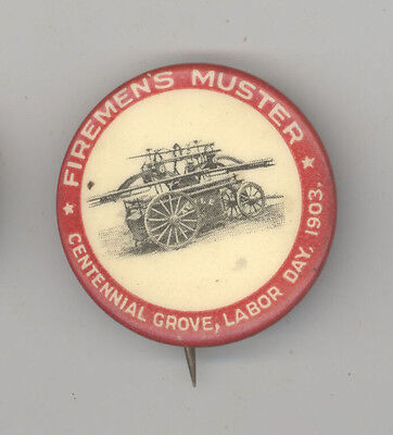 RARE 1903 FIREFIGHTING Pinback LABOR DAY Button PIN Badge MUSTER Fire FIREMEN