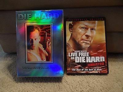 Die Hard Ultimate Collection (3 DVDS) & Live Free or Die Hard Unrated DVD- EUC