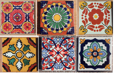 6 Mexican Talavera Pottery 4 Tile Hand Painted Mixed Lot Traditional Red Green