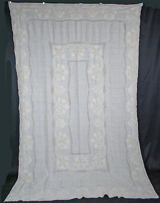 "ANTIQUE LINEN TABLECLOTH EMBROIDERED WHITEWORK MESHWORK 12 NAPKINS  100"" x 65"""