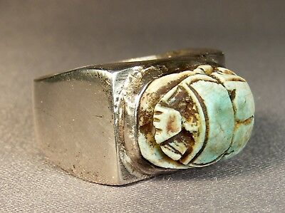 Vtg Egyptian Revival Scarab Turquoise Faience & Sterling Art Deco Ring Size 10