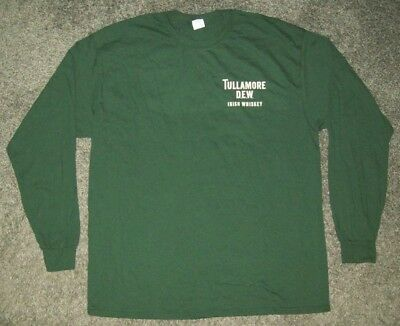 TULLAMORE DEW Irish Whiskey Men's Dark Green Long Sleeve T-Shirt 2XL NEW