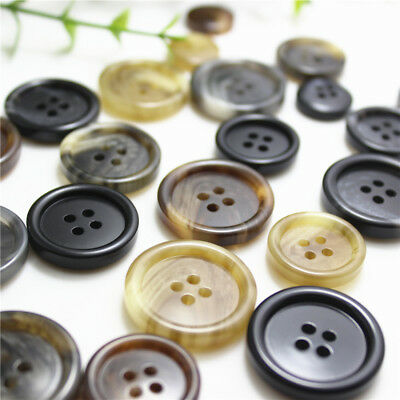 5x Matte Resin Flat 4Holes Buttons DIY Sewing for Suit Coat Jacket Decor 15-25mm