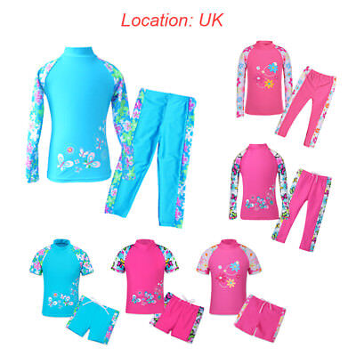 UK Warehouse Girls 2PC UPF50+ Sun Protective Rashguard Bathing Swimwear Swimsuit