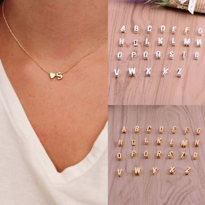 Women Charm Pendant Necklace Cute 26 Initial Letter Heart Chain Alphabet