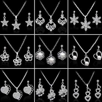 Wedding Bridal White Gold Filled CZ Pearl Heart Earrings Necklace Set Jewelry