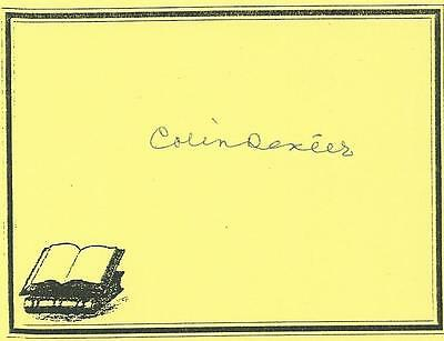 COLIN DEXTER, author, AUTHENTIC HAND SIGNED BOOKPLATE