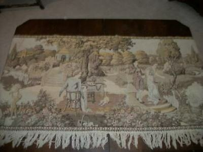 ANTIQUE Lg CHIC FRENCH FRINGED CHATEAU TAPESTRY SWANS CHERUBS PARIS APT SHABBY