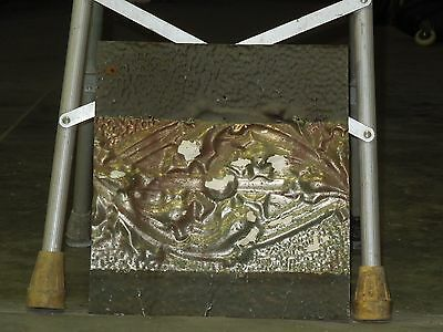Old Antique ( Metal )  tin ceiling tile  tiles floral 13x14 orig paint